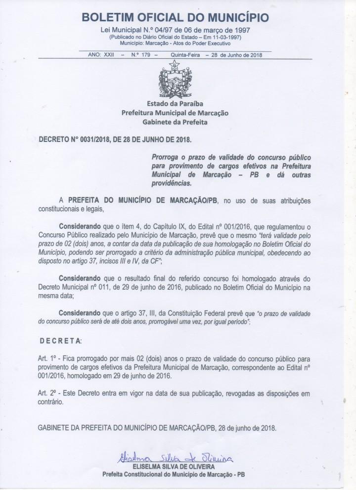 DECRETO Nº 0031/2018 – PRORROGA O PRAZO DE VALIDADE DO CONCURSO PÚBLICO PARA PROVIMENTO DE CARGOS EFETIVOS NA PREFEITURA