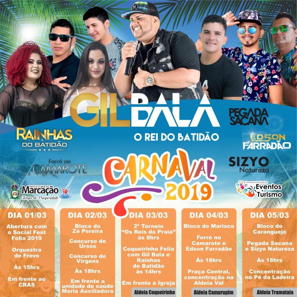 Programação dos blocos e atrações do Carnaval 2019 em Marcação