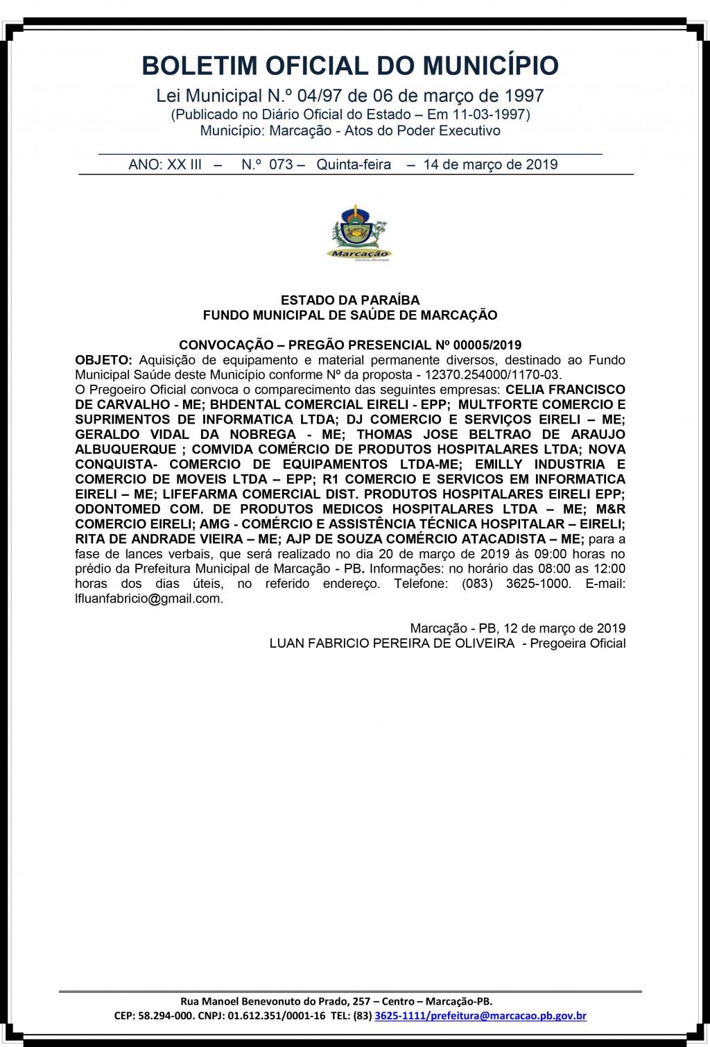 CONVOCAÇÃO – PREGÃO PRESENCIAL Nº 00005/2019