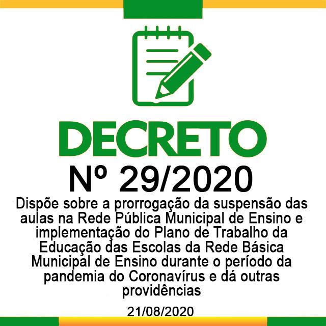 DECRETO N° 29, DE 21 DE AGOSTO DE 2020.