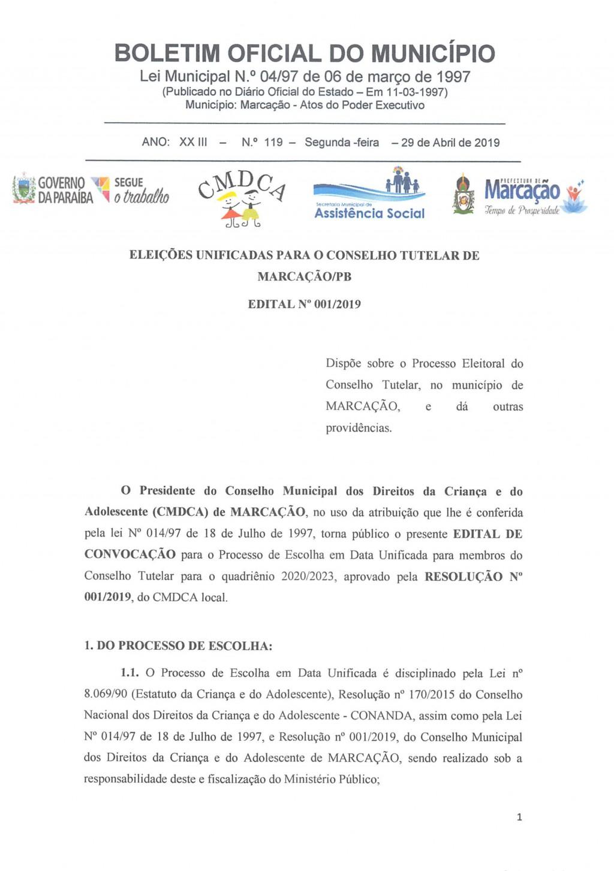EDITAL DO PROCESSO ELEITORAL DO CONSELHO TUTELAR
