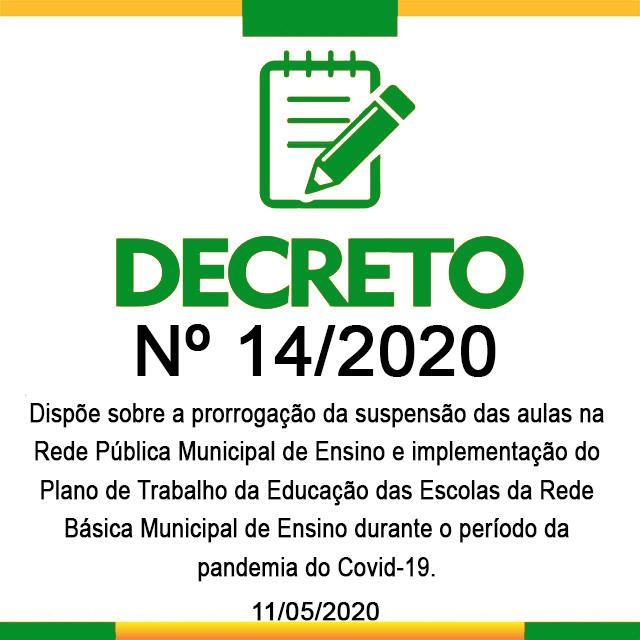 DECRETO N° 14, 11 DE MAIO DE 2020