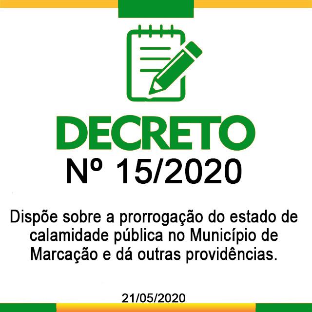 DECRETO N° 15, 21 DE MAIO DE 2020