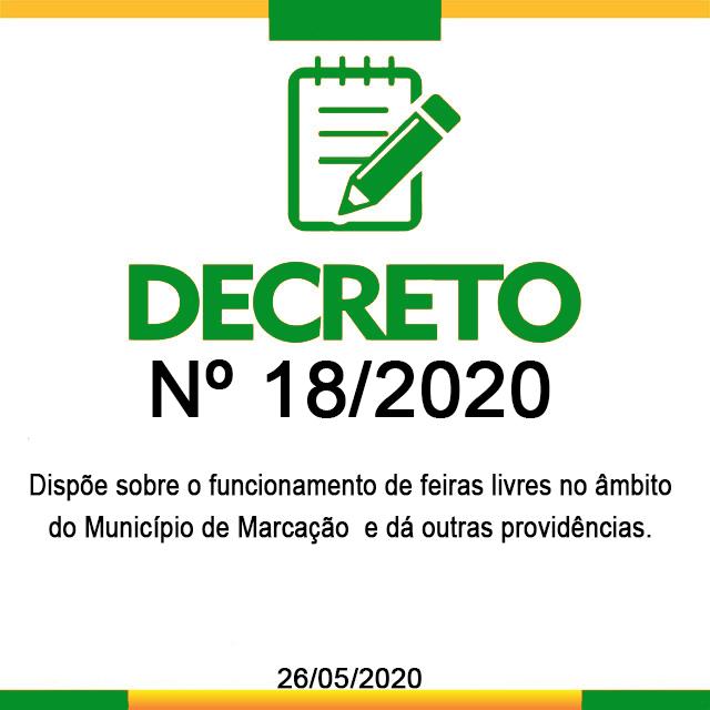 DECRETO N° 18, 26 DE MAIO DE 2020