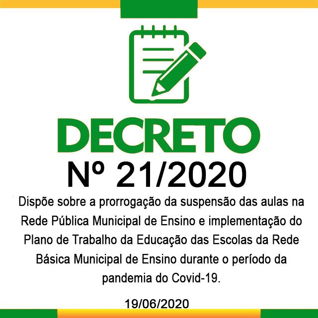DECRETO 21,  19 DE JUNHO DE 2020