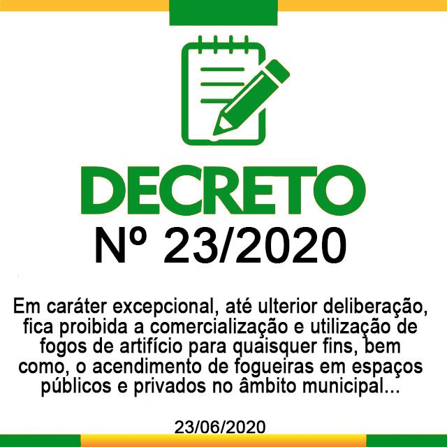 DECRETO Nº 23,  DE 23 DE JUNHO DE 2020