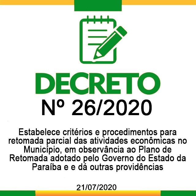 DECRETO N° 26, DE 21 DE JULHO DE 2020
